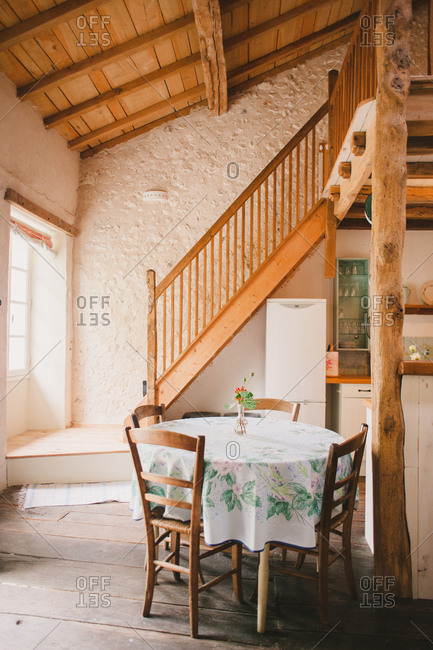 Seating area in French farmhouse