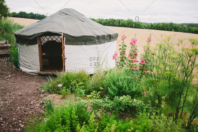 Yurt by a rural field