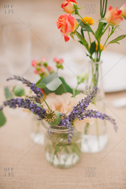Floral arrangement on center of table