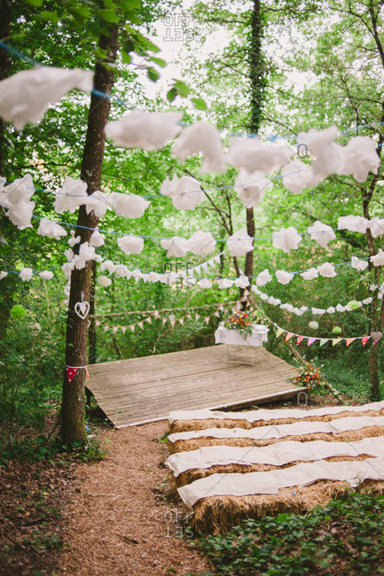Strings over a wooded wedding space