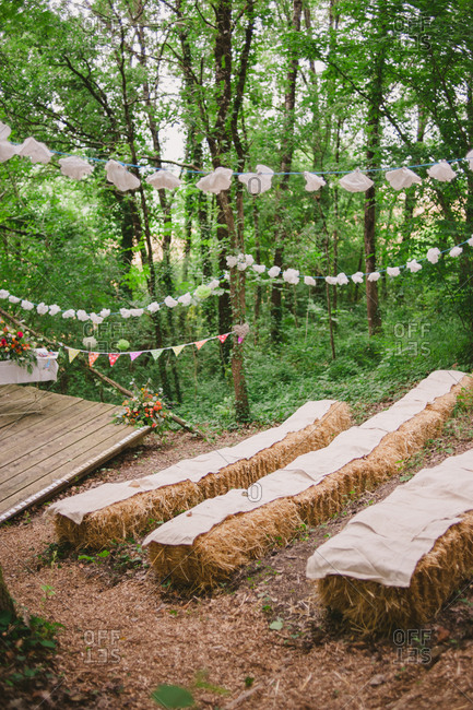 A rustic wooded wedding space