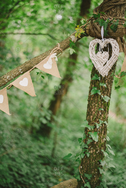 Heart shaped decorations in forest