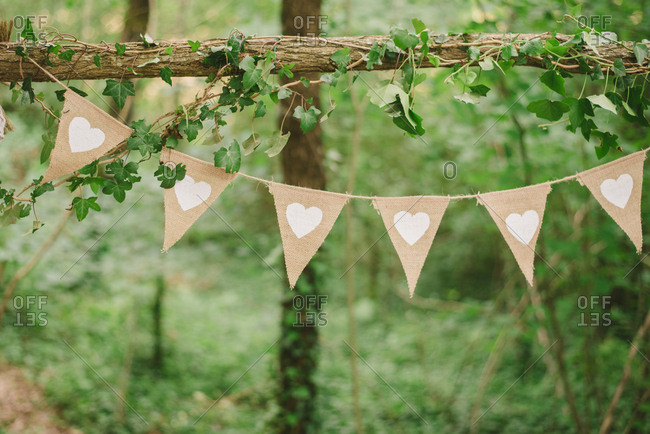 Flags with hearts strung in forest