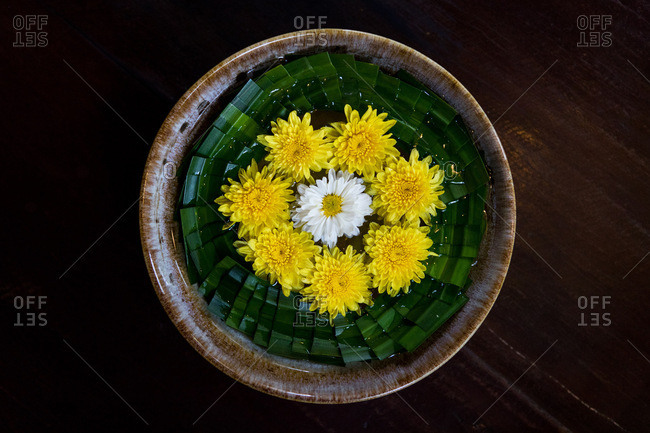Bowl of flowers at a health and massage spa in Chiang Mai, Thailand