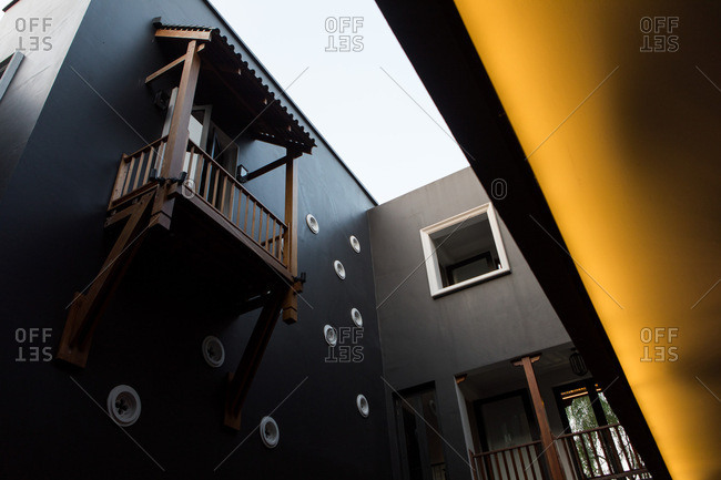 Low angle view of atrium at a hotel in Chiang Mai, Thailand