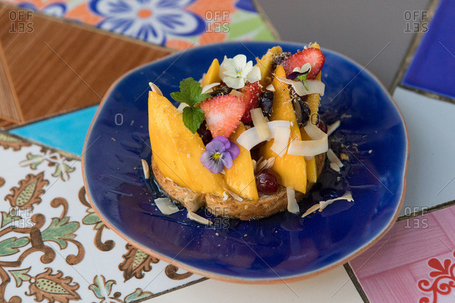 A mango toast dish in Chiang Mai, Thailand