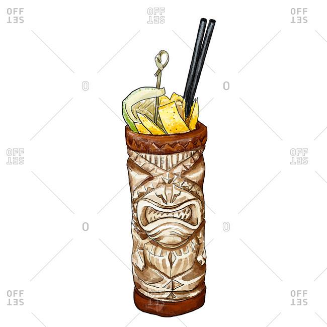 Tropical cocktail served in a tiki mug