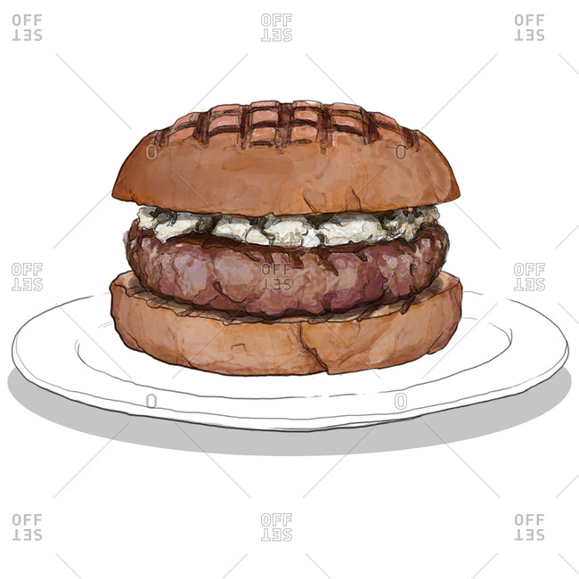 Hamburger on white plate with blue cheese