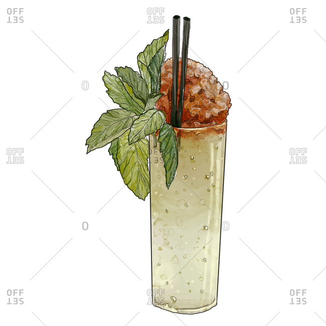 Tall cocktail with mint leaves