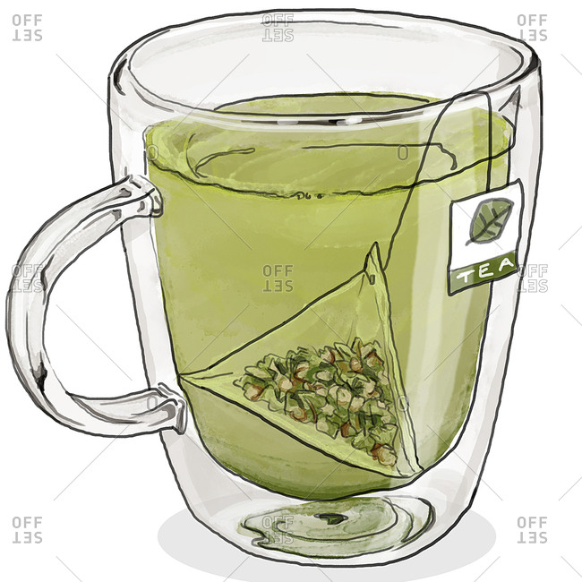 Green tea in glass mug