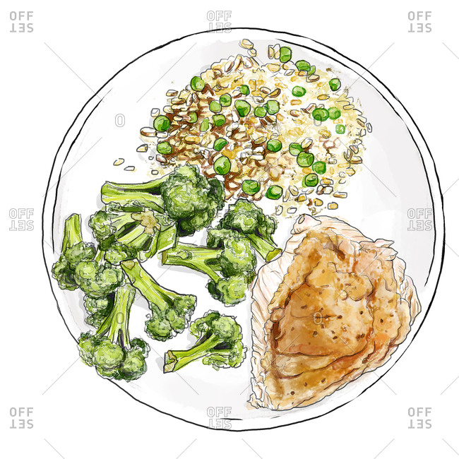 Chicken served with broccoli on plate with side dish
