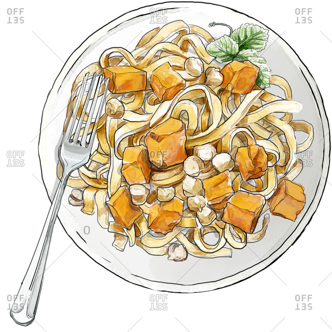 Plate of noodles with squash cubes