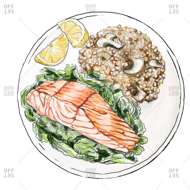 Salmon on a bed of spinach with mushroom pilaf