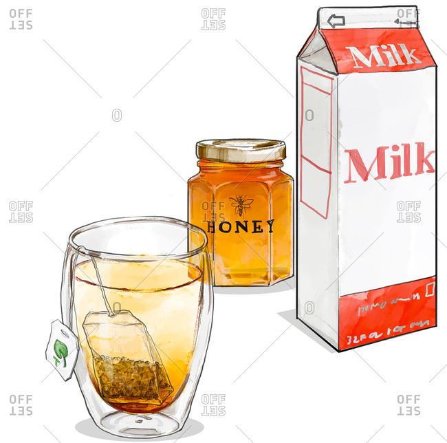 Glass of tea with jar of honey and carton of milk