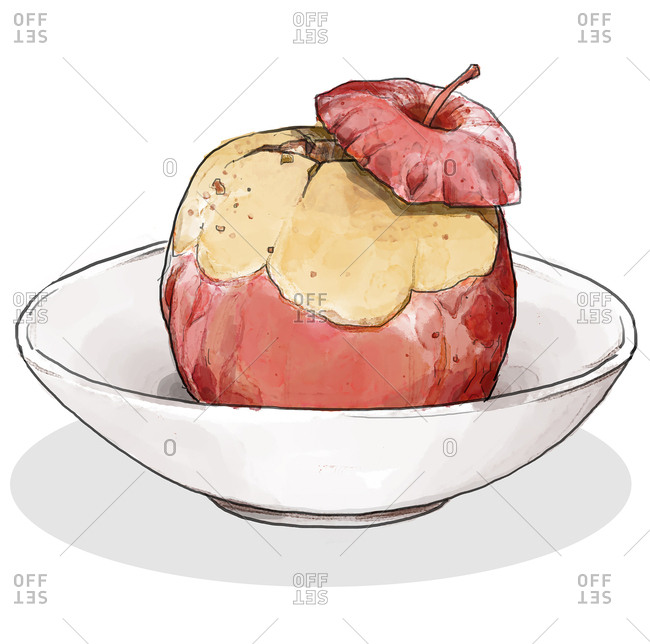 Baked apple in a bowl
