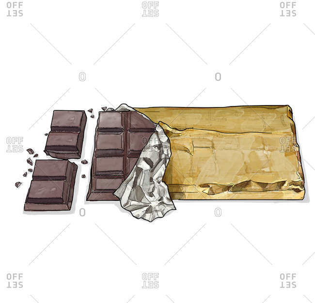 Squares of chocolate in gold wrapper