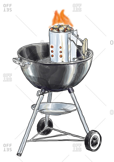 Kettle charcoal grill with chimney starter