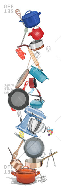 Kitchen implements in a stack