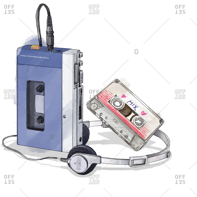 Vintage portable tape player with cassette and headphones