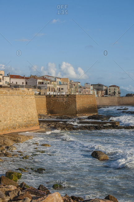 Italy, Sardinia, Alghero - March 4, 2017: View of the town from the city walls