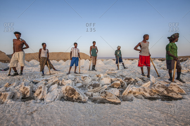 Ethiopia, Tigray - November 30, 2010: Extraction of salt from the salt flats of Lake Afrera