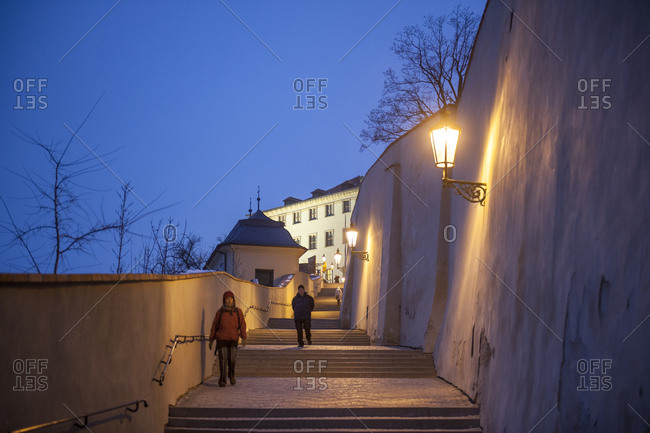 Czech Republic, Prague - February 1, 2011: Stairway to the castle