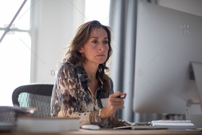 Mature businesswoman working on computer