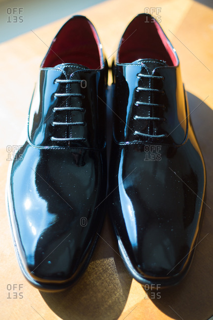 Pair of shiny black men's formal shoes