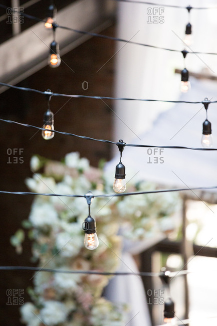 Rows of string lights with Edison bulbs