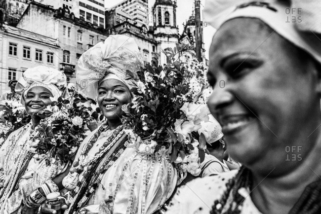 Salvador, Brazil - January 15, 2009: Women in traditional clothing wearing flowers and streamers