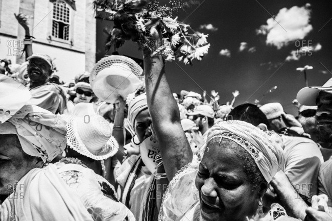Salvador, Brazil - January 15, 2009: People in traditional clothing celebrating in front of the Bonfim Church