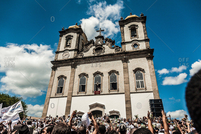 Salvador, Brazil - January 15, 2009: Crowd of people celebrating in front of the Bonfim Church