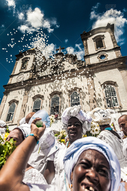 Salvador, Brazil - May 23, 2016: Women celebrating in front of the Bonfim Church