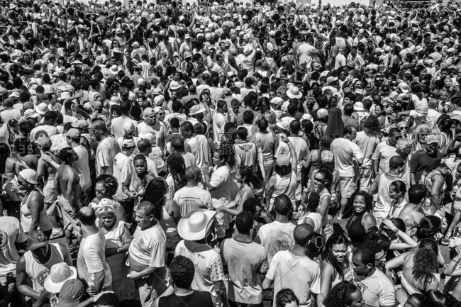 Salvador, Brazil - May 23, 2016: Large crowd of people standing in the streets