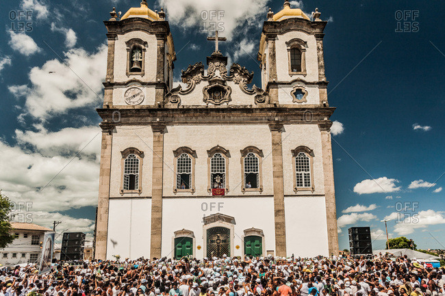 Salvador, Brazil - January 15, 2009: Crowd of people on the street in front of the Bonfim Church