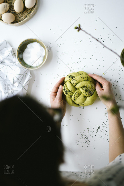 Matcha challah bread ready to be baked