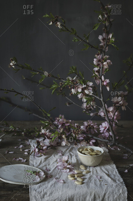 White almonds and blossom in a kitchen