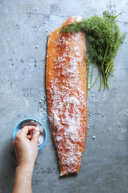 Female hand covering salmon fillet with sea salt, Preparing cured salmon
