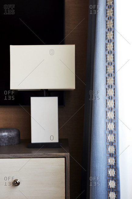 Lamp with square shapes on table