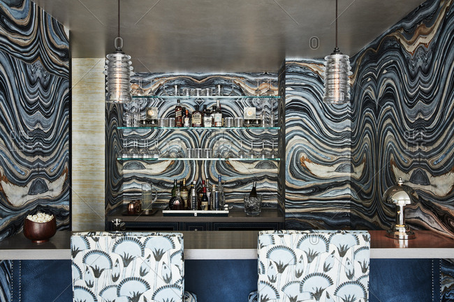 Los Angeles, California - November 15, 2016: Bar in home with patterned walls