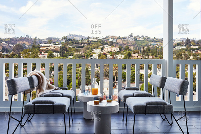 Los Angeles, California - November 15, 2016: Modern style deck furnishing with view