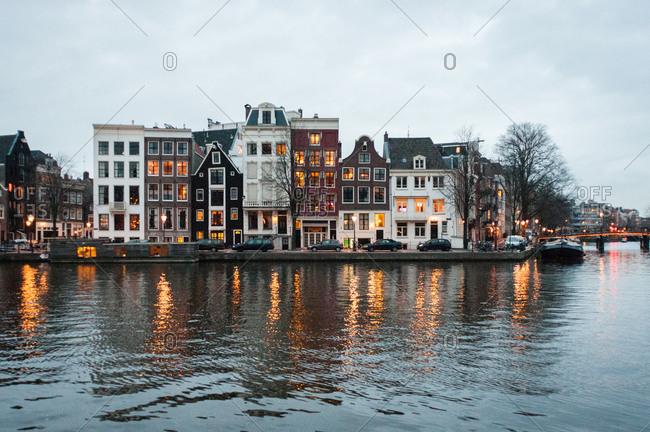 Amsterdam street scene at dusk