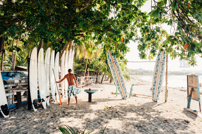 Samara, Costa Rica - October 30, 2012: Man arranging surfboards at surf camp