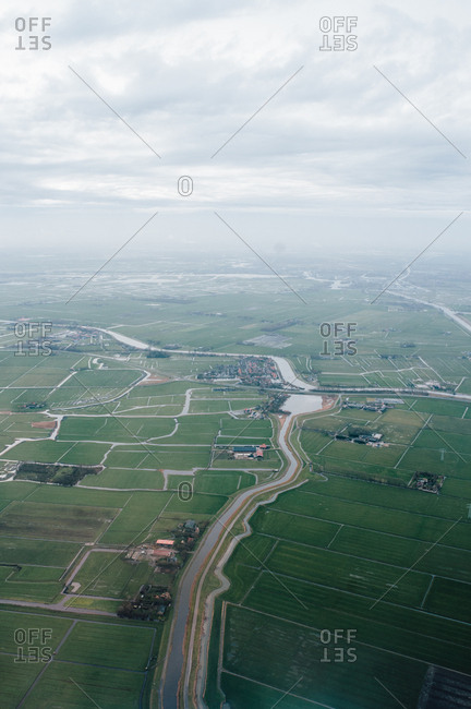 View of Dutch landscape from plane