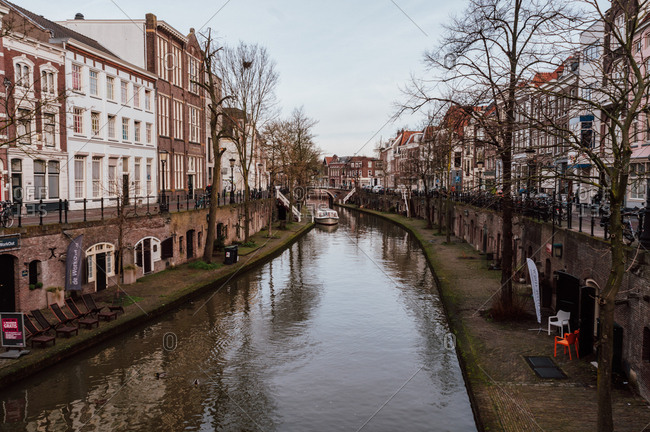 Utrecht, Netherlands - February 14, 2014: Landscape of canal and buildings