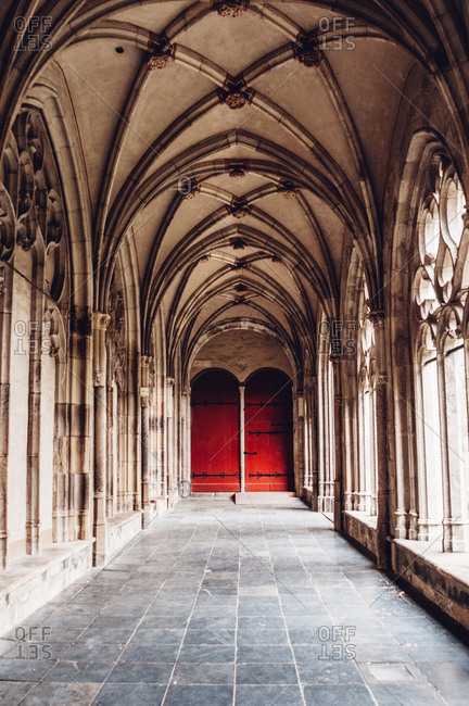 Red door in church walkway