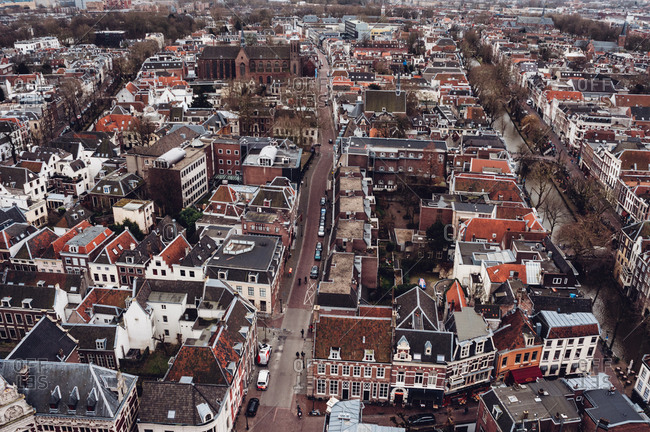 Top down view of Dutch city center