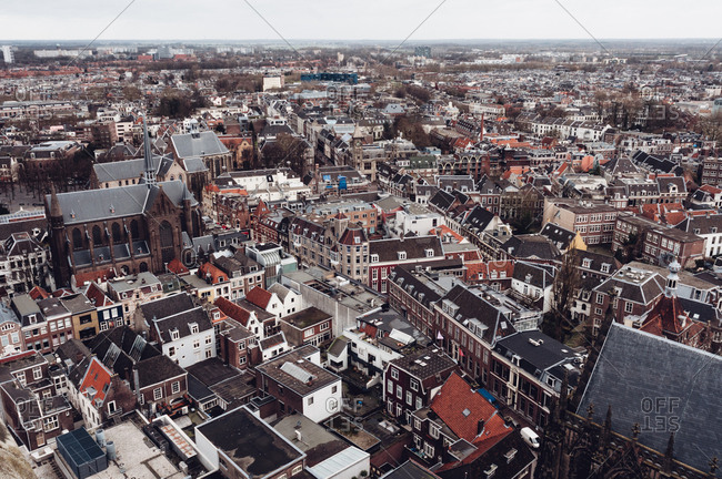 Top down view of Dutch city center with horizon