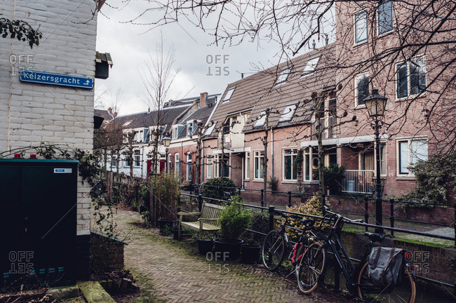 Utrecht, Netherlands - February 16, 2014: Narrow lane with houses