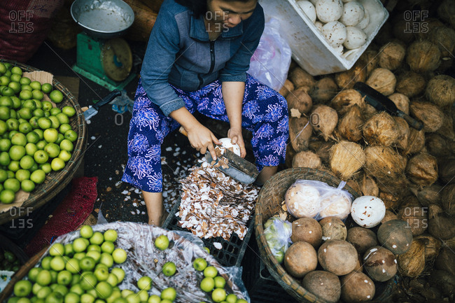 Hue, Vietnam - January 13, 2017: A woman chops coconuts at the market